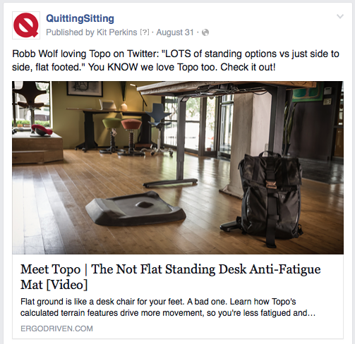 Screenshot of a Facebook ad by Quitting Sitting
