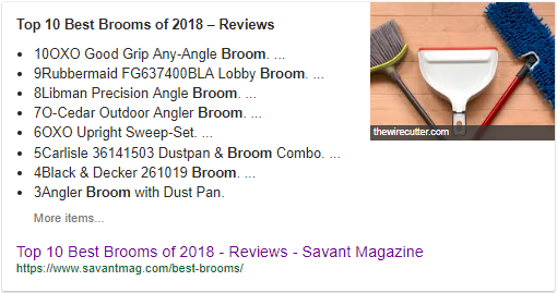 "Screenshot showing google search results for ""top 10 best brooms of 2018"""
