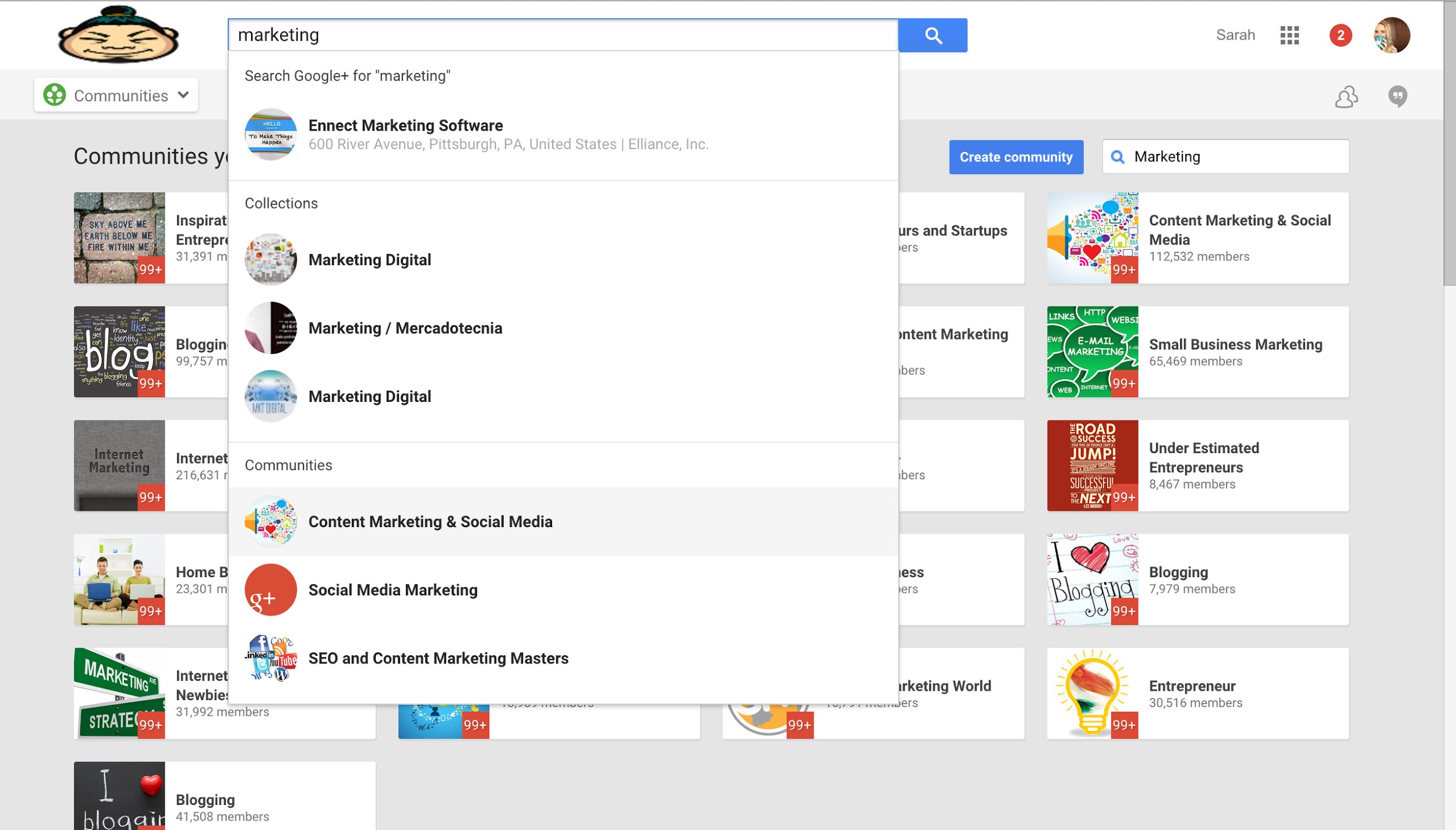 "Screenshot of a search for ""marketing"" on Google+"