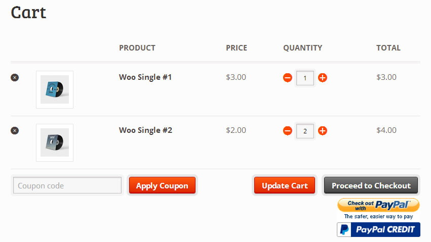 Screenshot showing a woocommerce cart