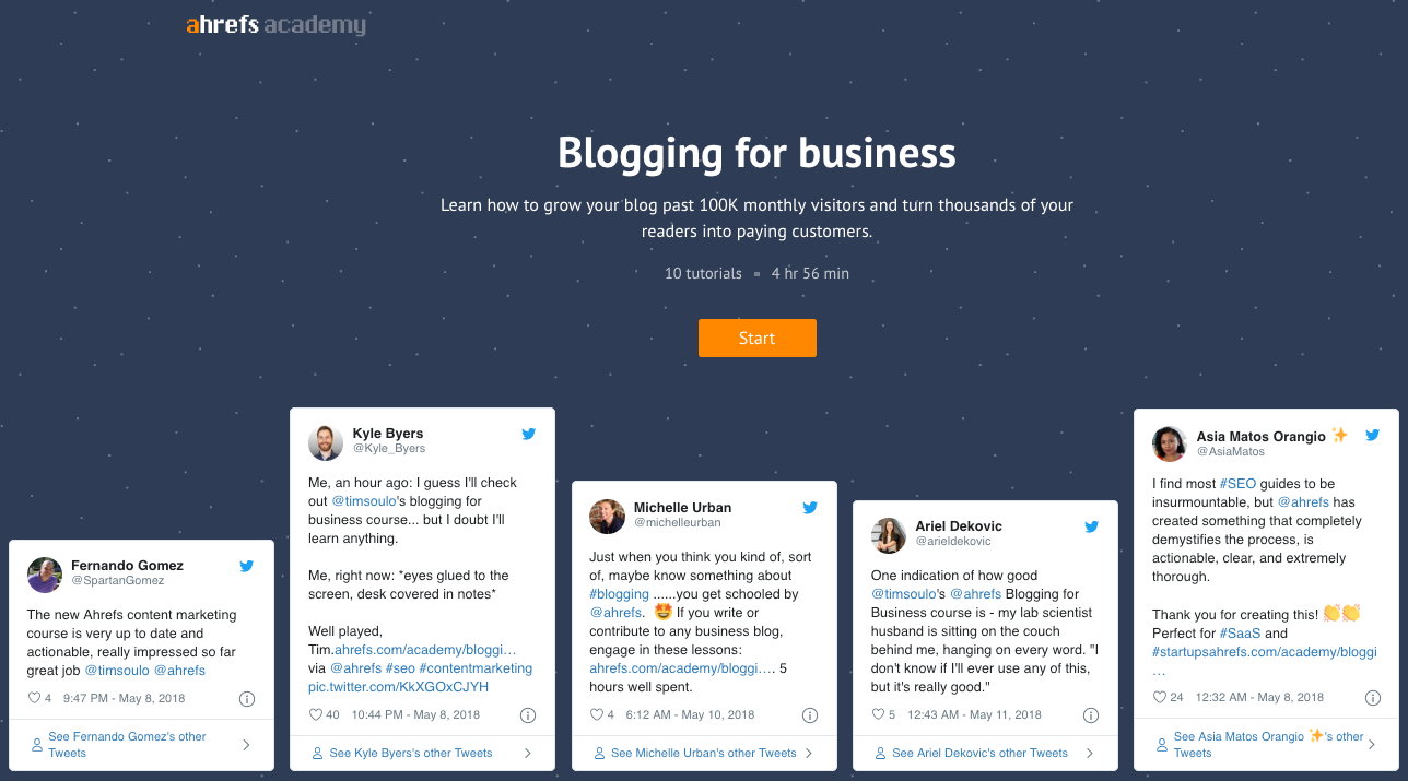 Ahrefs online course - Blogging for business
