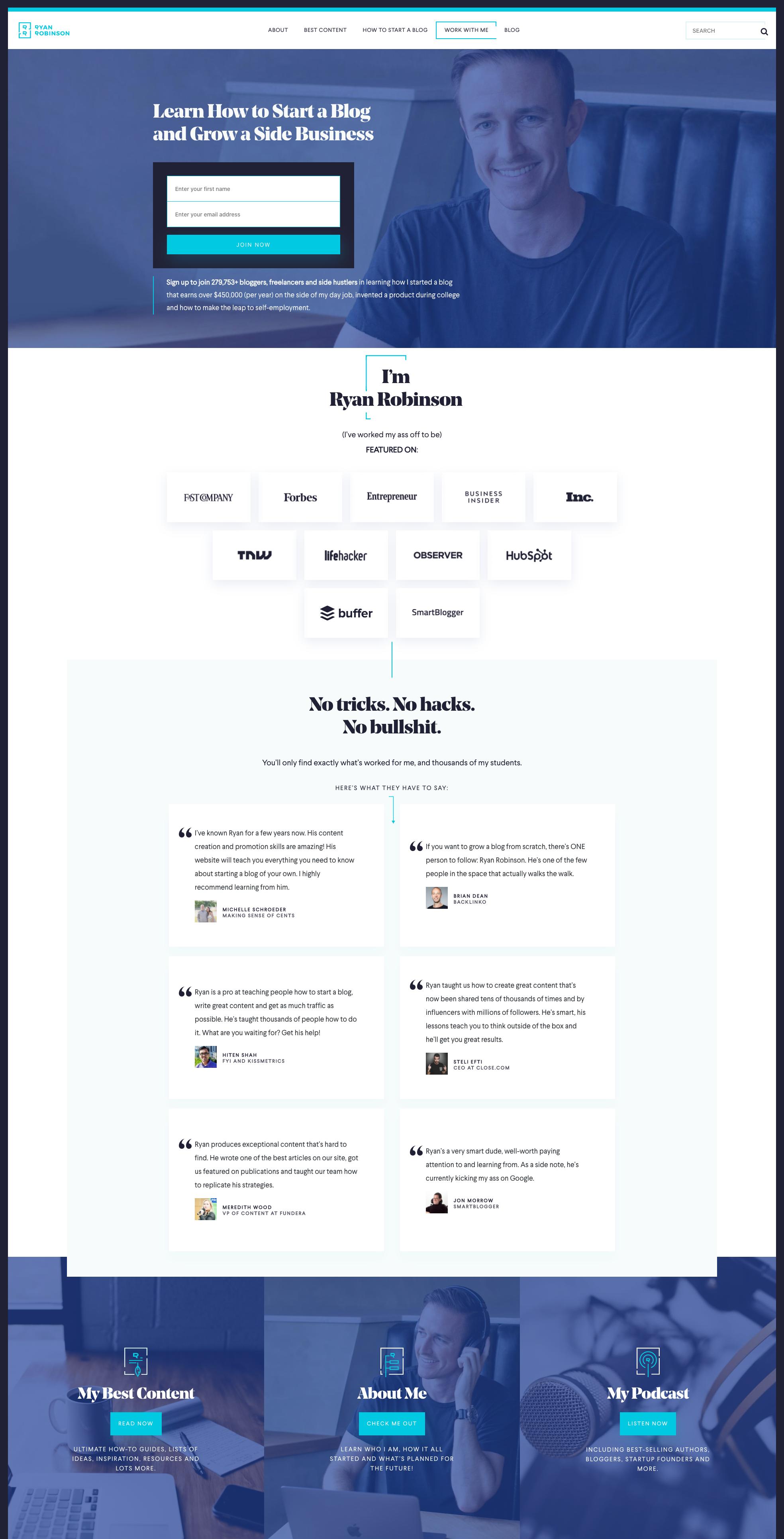 Best Homepages Online - Ryan Robinson