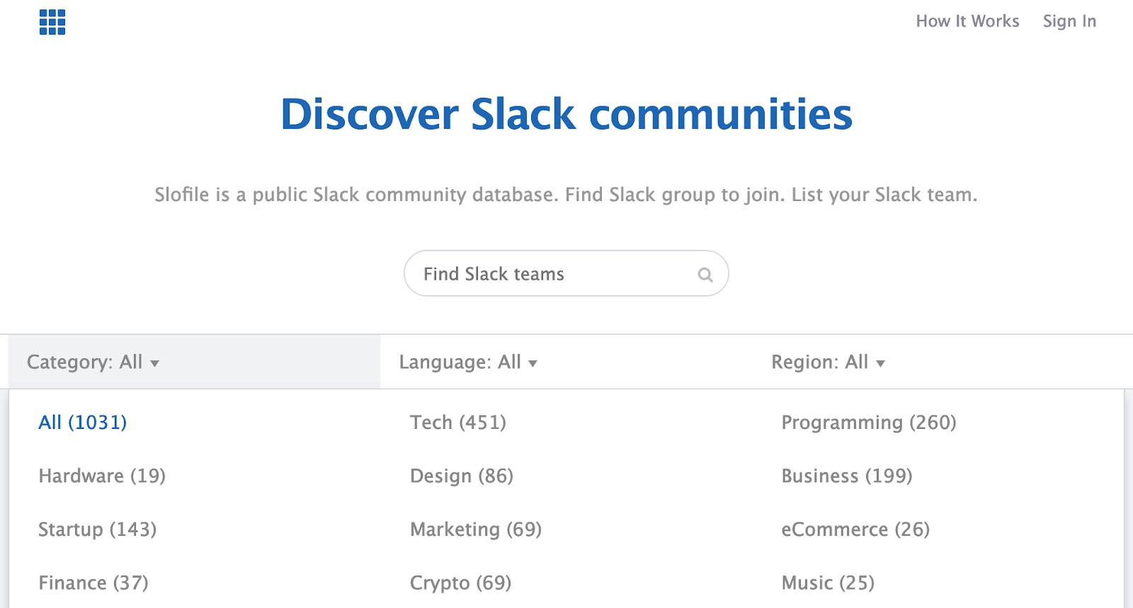 Screenshot showing Slack communities list