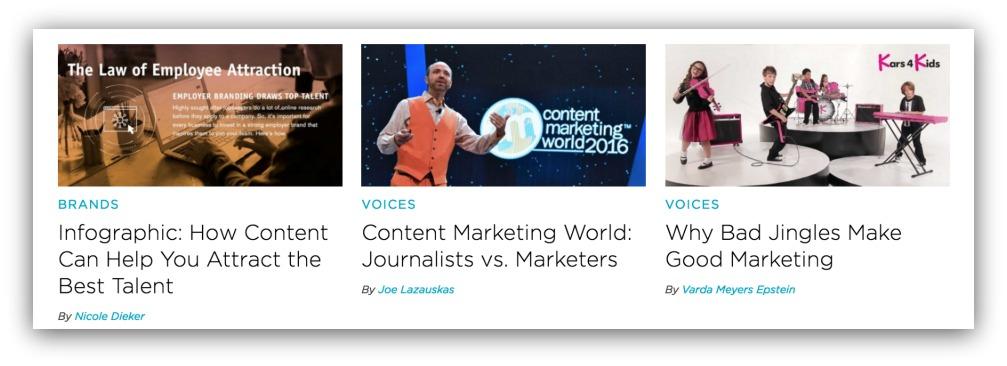 Screenshot of columns of content on a blog