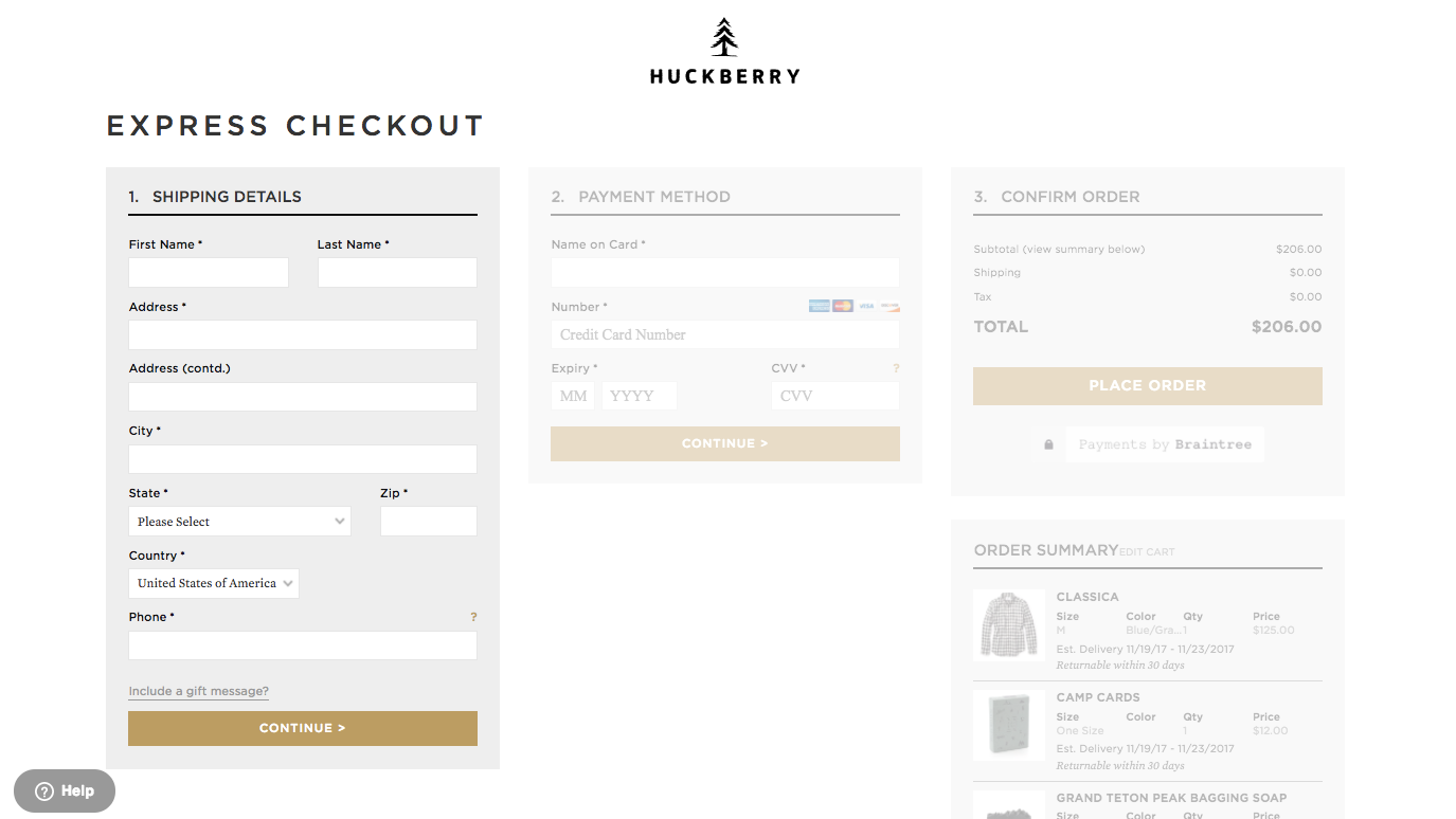 Screenshot showing the checkout page on Huckberry