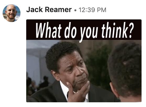 Followe Up LinkedIn message from Jack Reamer.