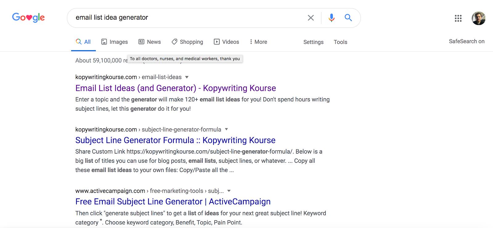 Google search email list idea genarator