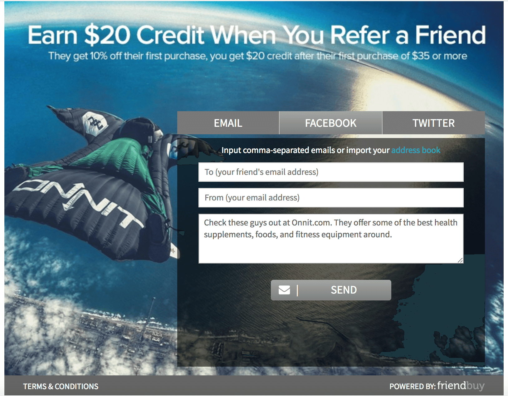 Screenshot showing a referral page