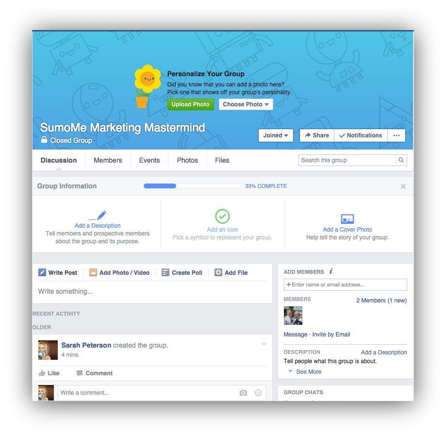 Screenshot showing a closed facebook group