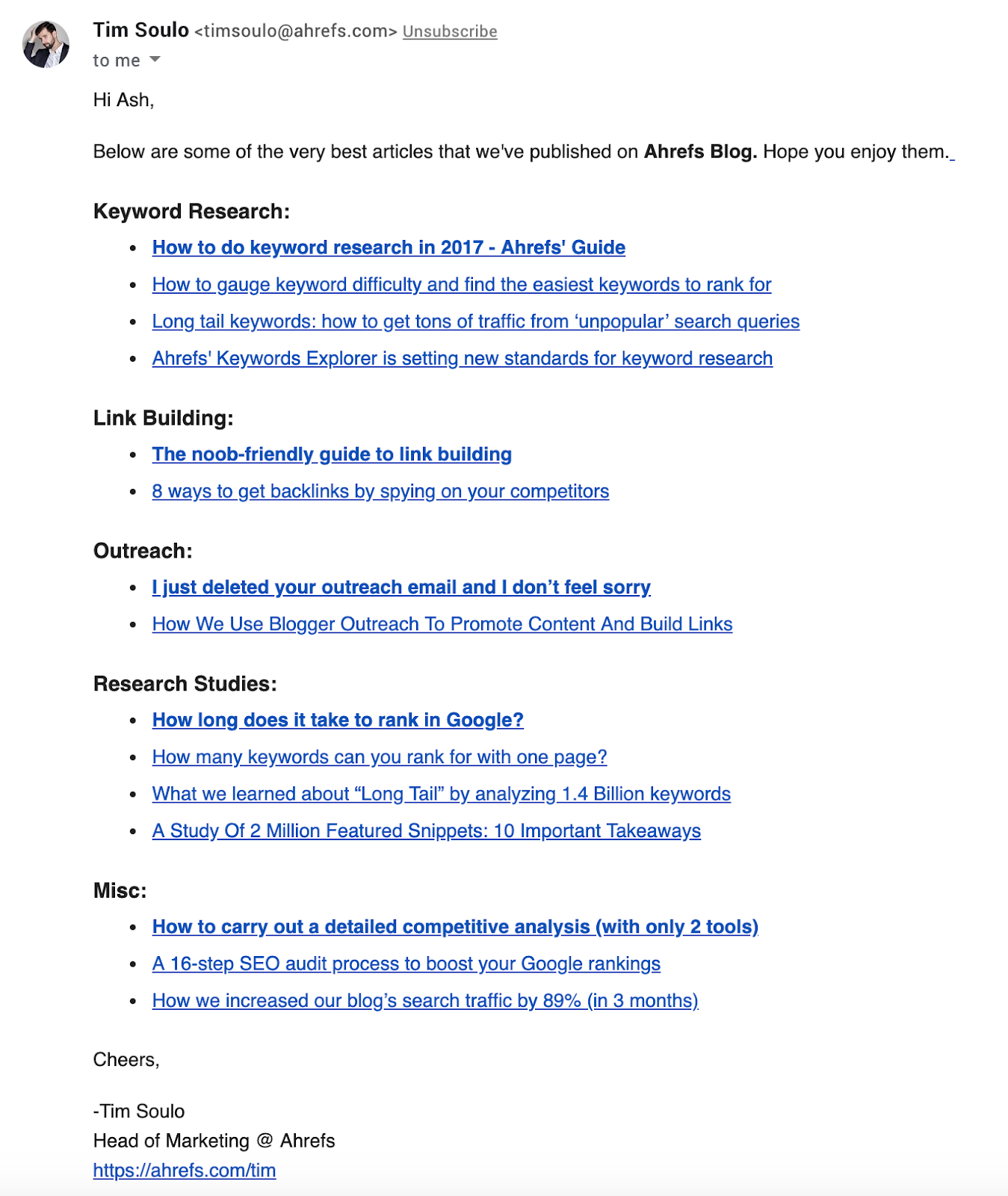 Screenshot of automated email giving customers links to their best SEO content by Tim Soulo, Ahrefs