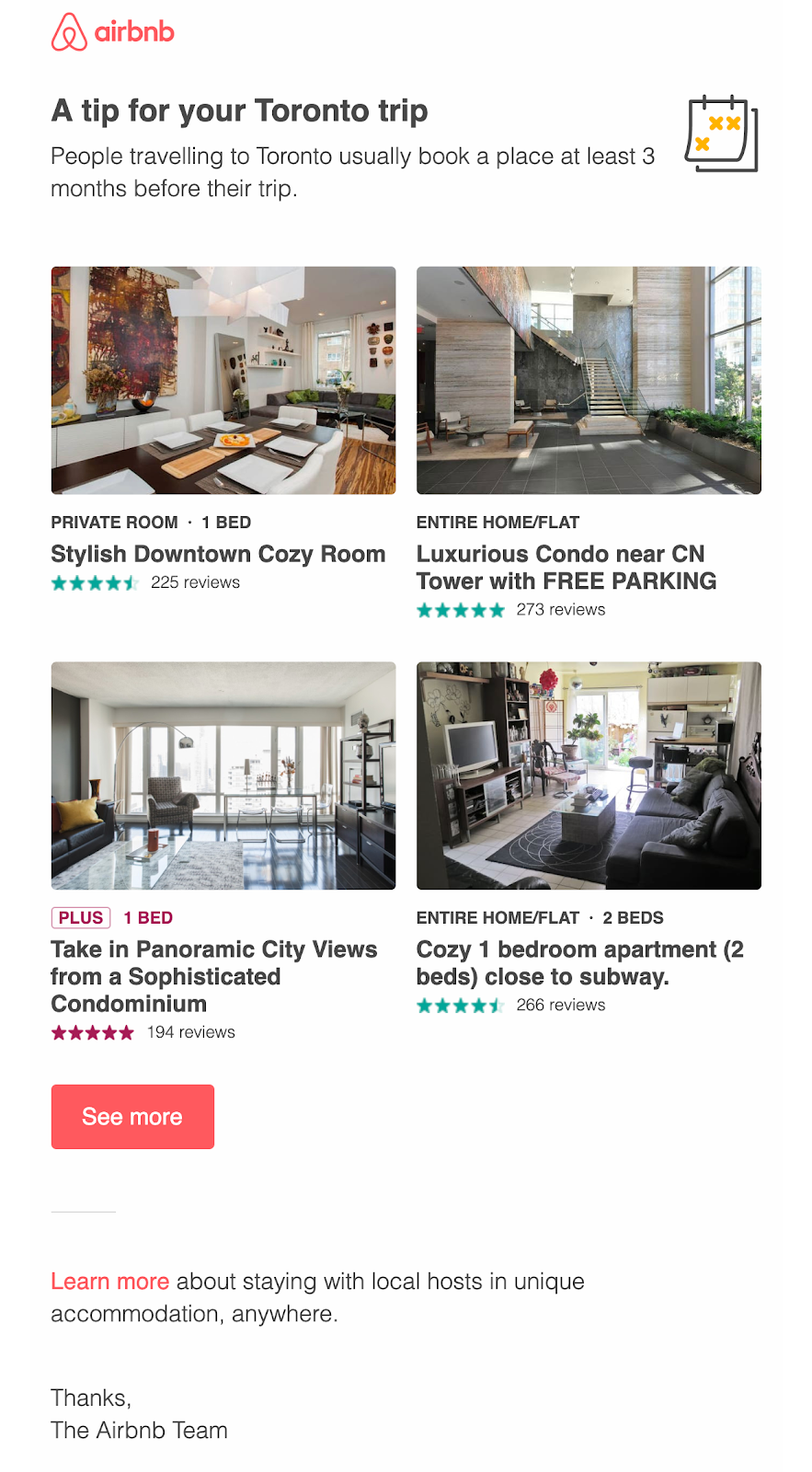 Screenshot of email from Airbnb