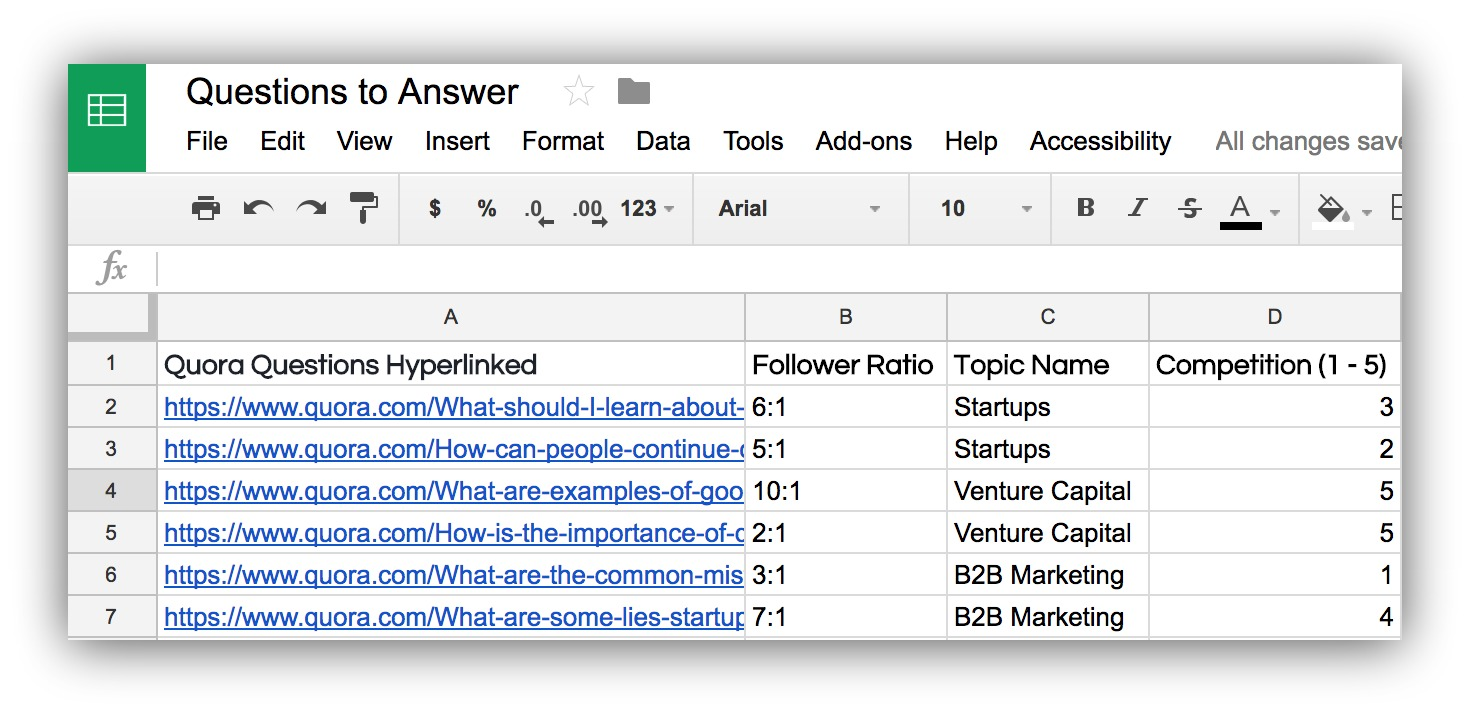 Screenshot of a google spreadsheet listing different quora answers