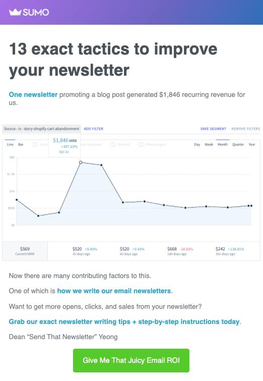 B2B Email Marketing: Screenshot of Sumo