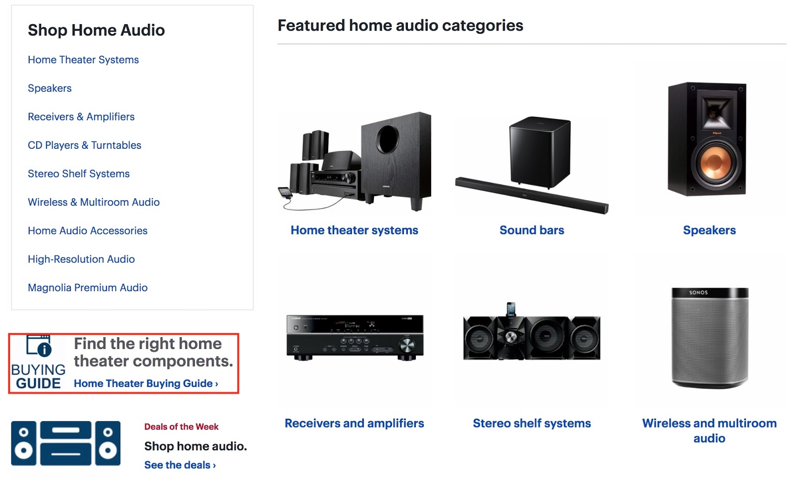 Screenshot showing home audio products