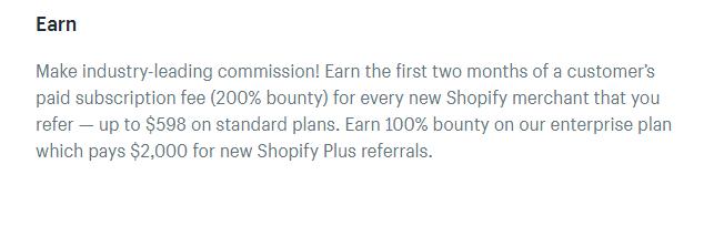 Screenshot showing copy on shopify