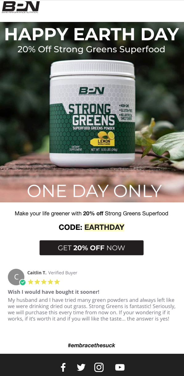 Screenshot of promo email (flash sale) by Bare Performance Nutrition