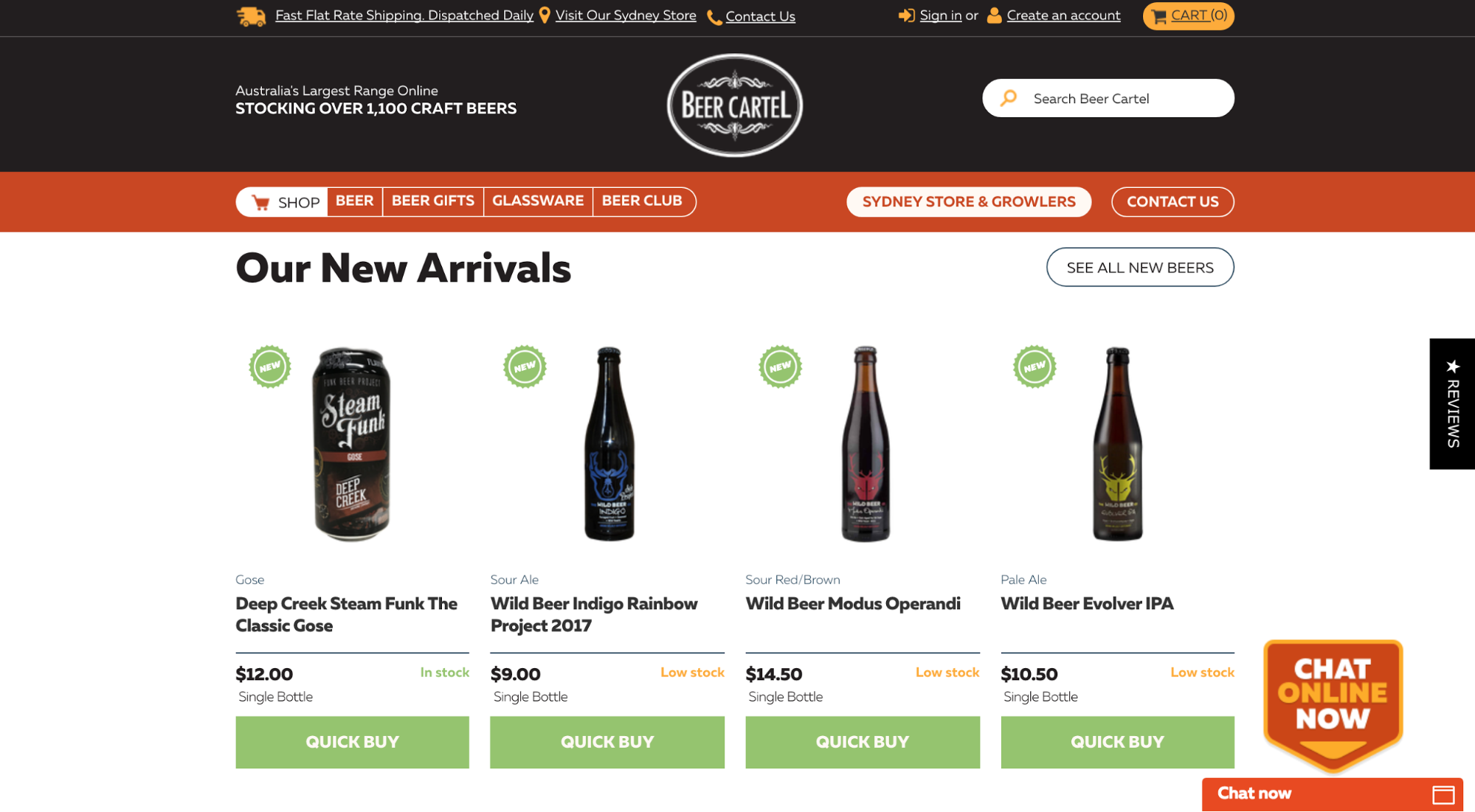 Screenshot showing new arrivals on an online liquor store