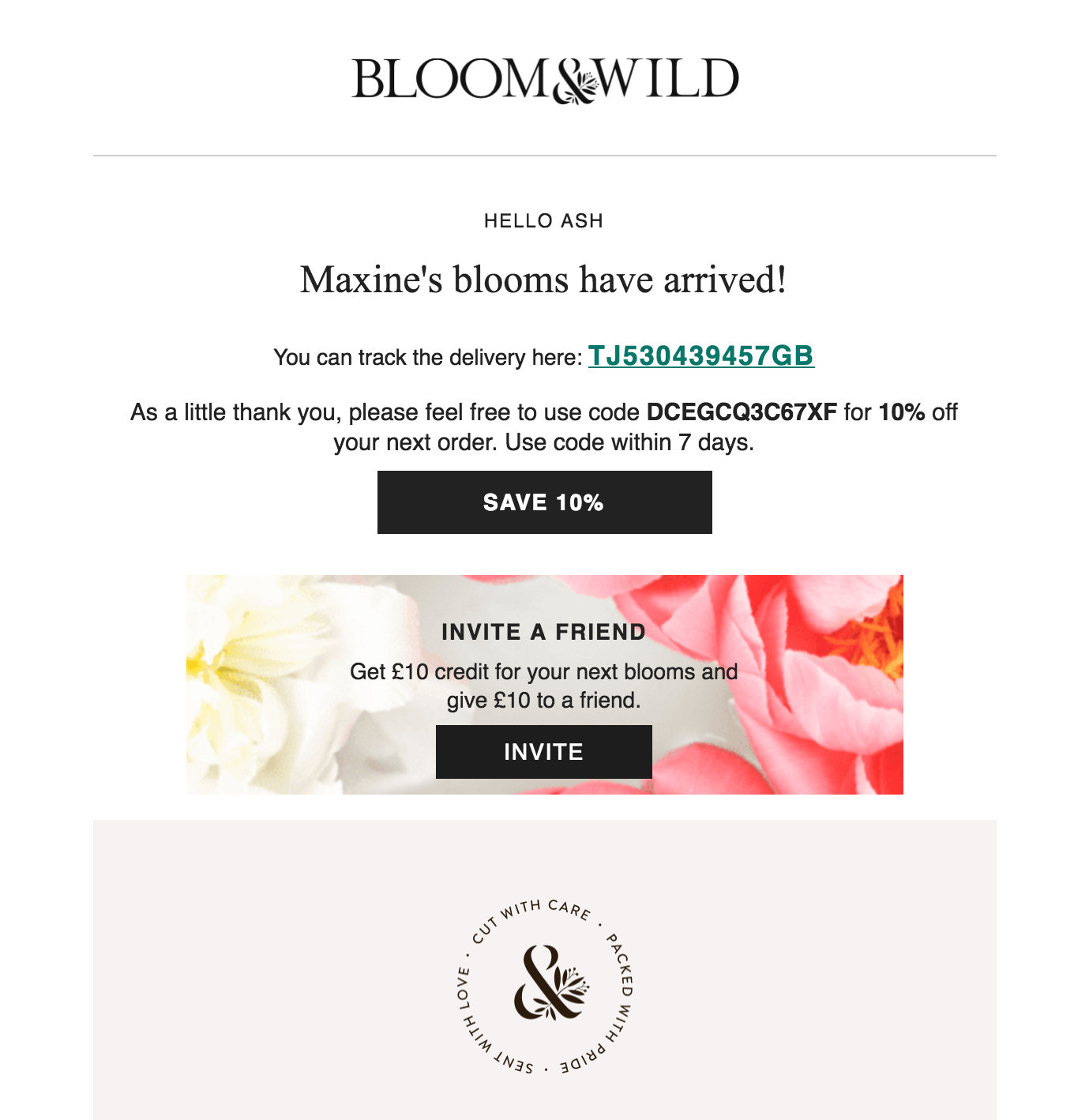 Screenshot showing an email by Bloom & Wild