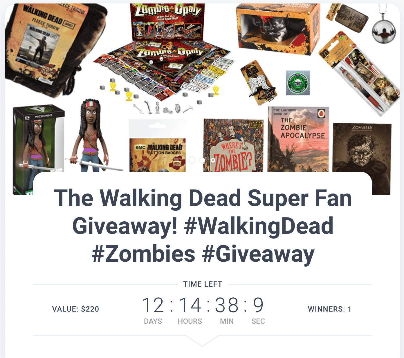 Screenshot showing a walking dead giveaway