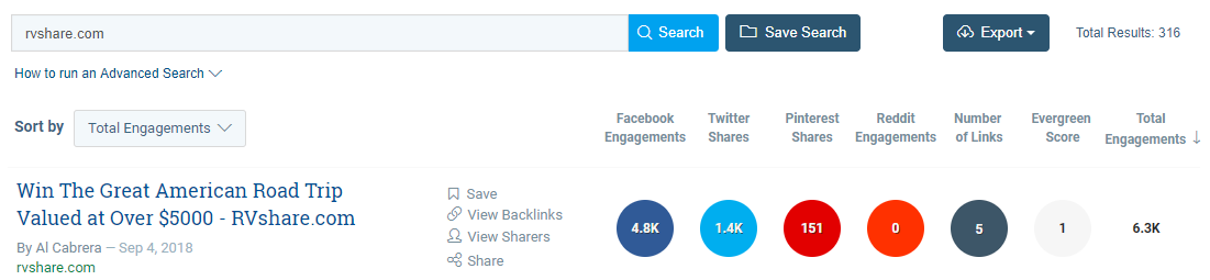 Screenshot of steps to find most-shared content in industry using Buzzsumo