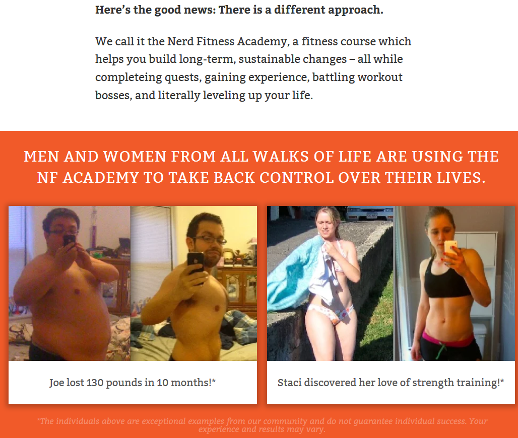 Screenshot of testimonials for Nerd Fitness Academy