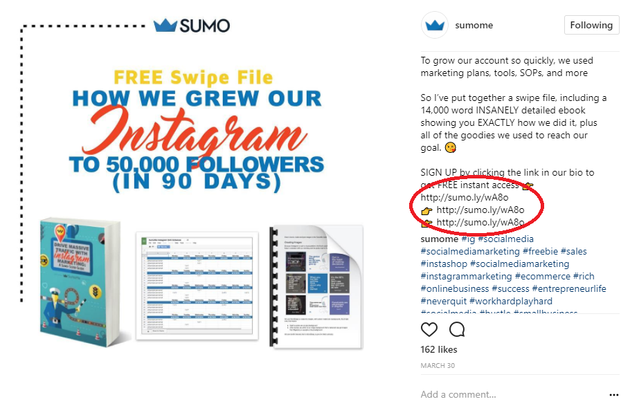 Screenshot of an instagram post by Sumo