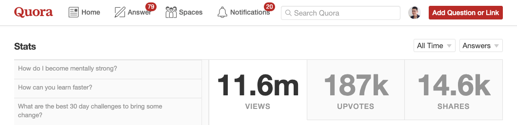 Screenshot showing traffic from Quora