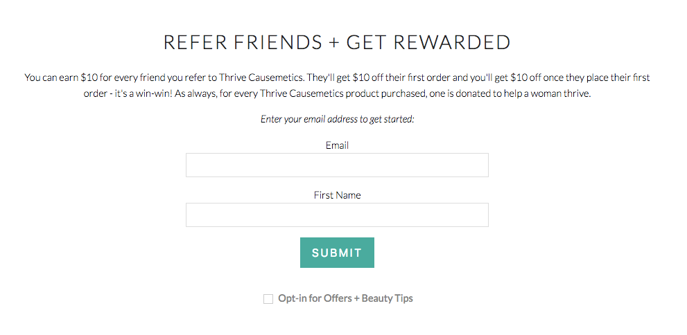 Screenshot showing opt-in form for a referral program