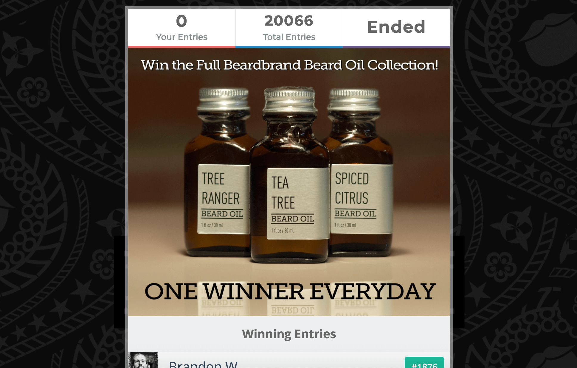 Screenshot showing a contest