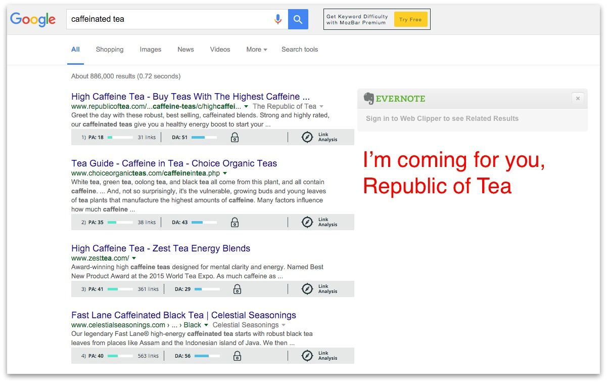 Screenshot showing competitors on google search