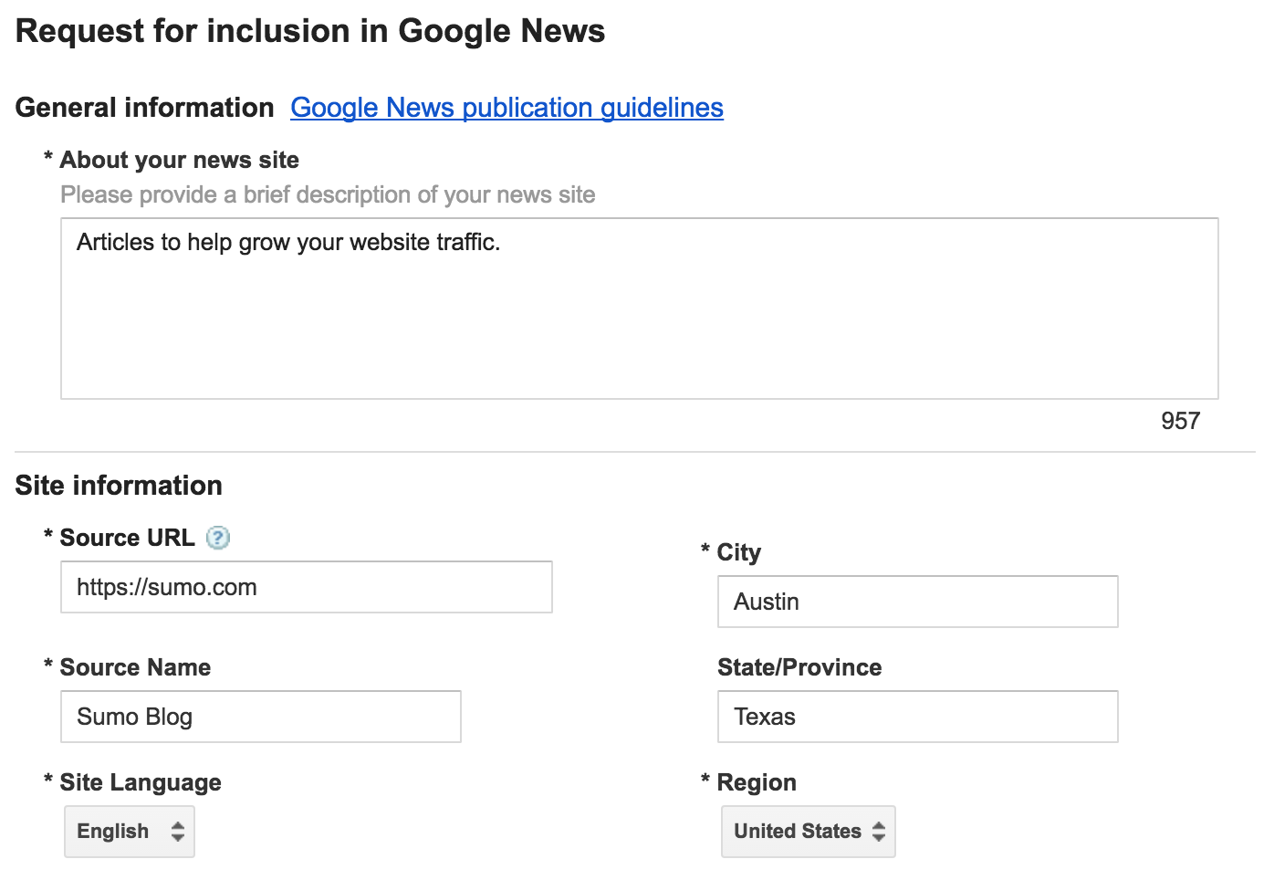 "Screenshot of the ""request for inclusion"" page on Google News"