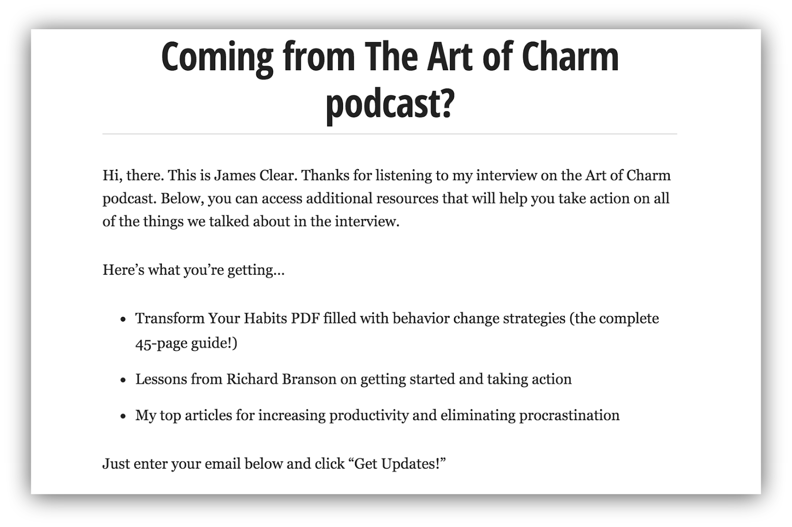 Screenshot of a landing page for people directed from the art of charm podcast
