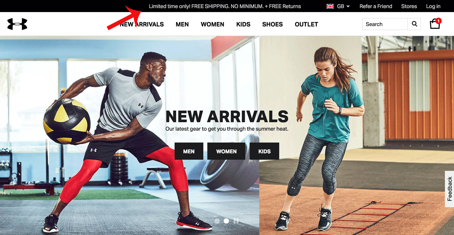 Screenshot showing an Underarmour free shipping bar