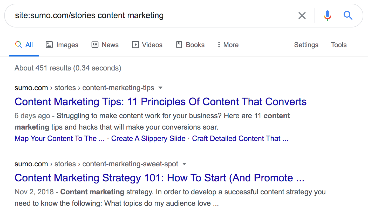 site:sumo.com/stories content marketing search in Google.