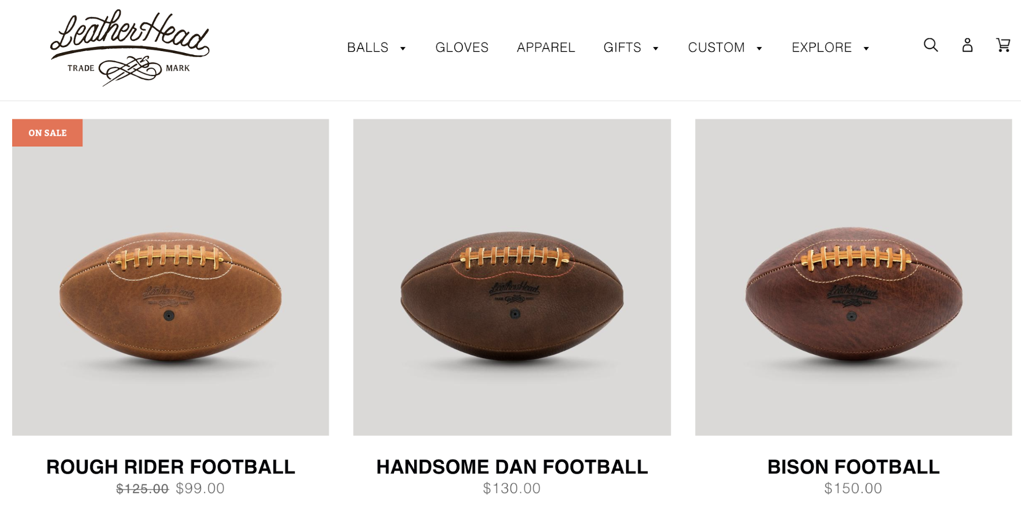 Screenshot showing a store that makes footballs