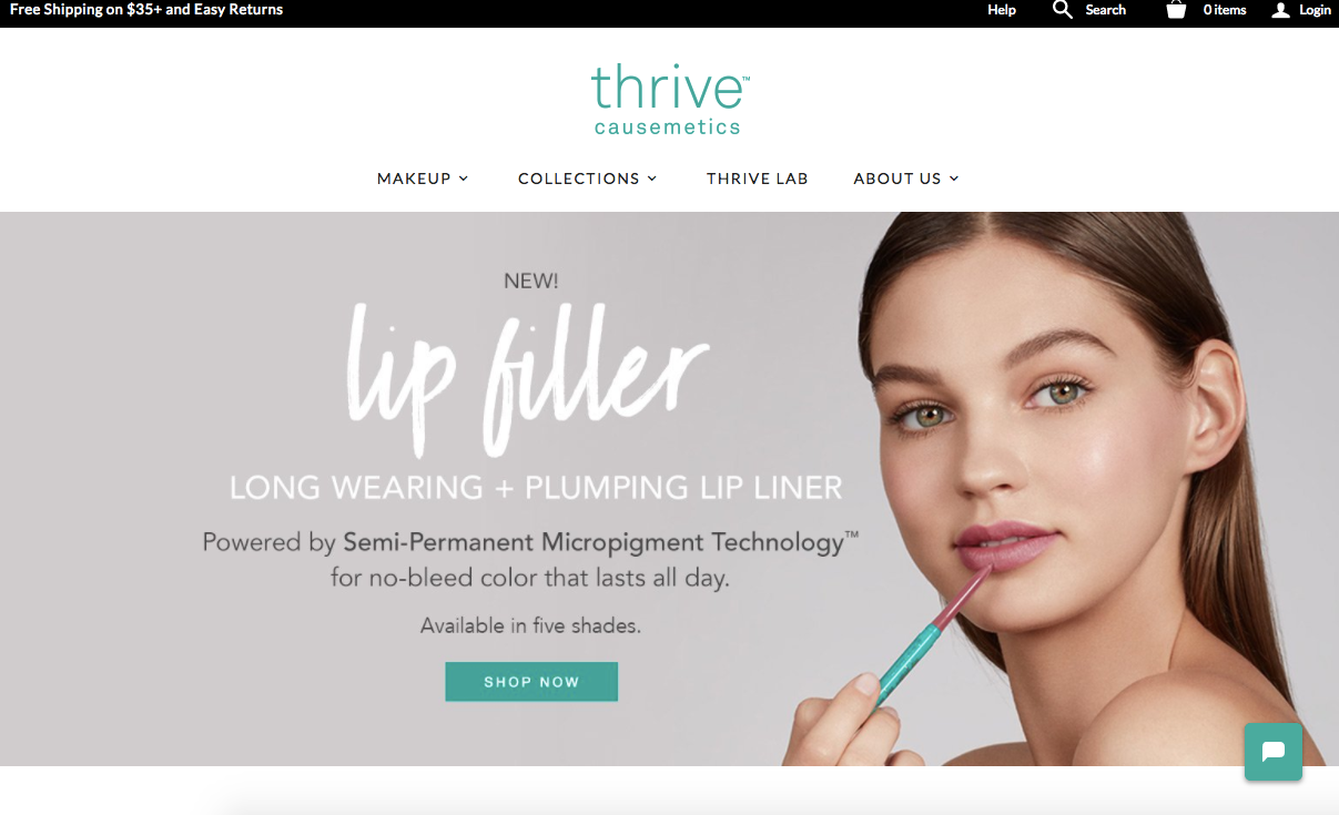 Screenshot showing a cosmetics ecommerce store