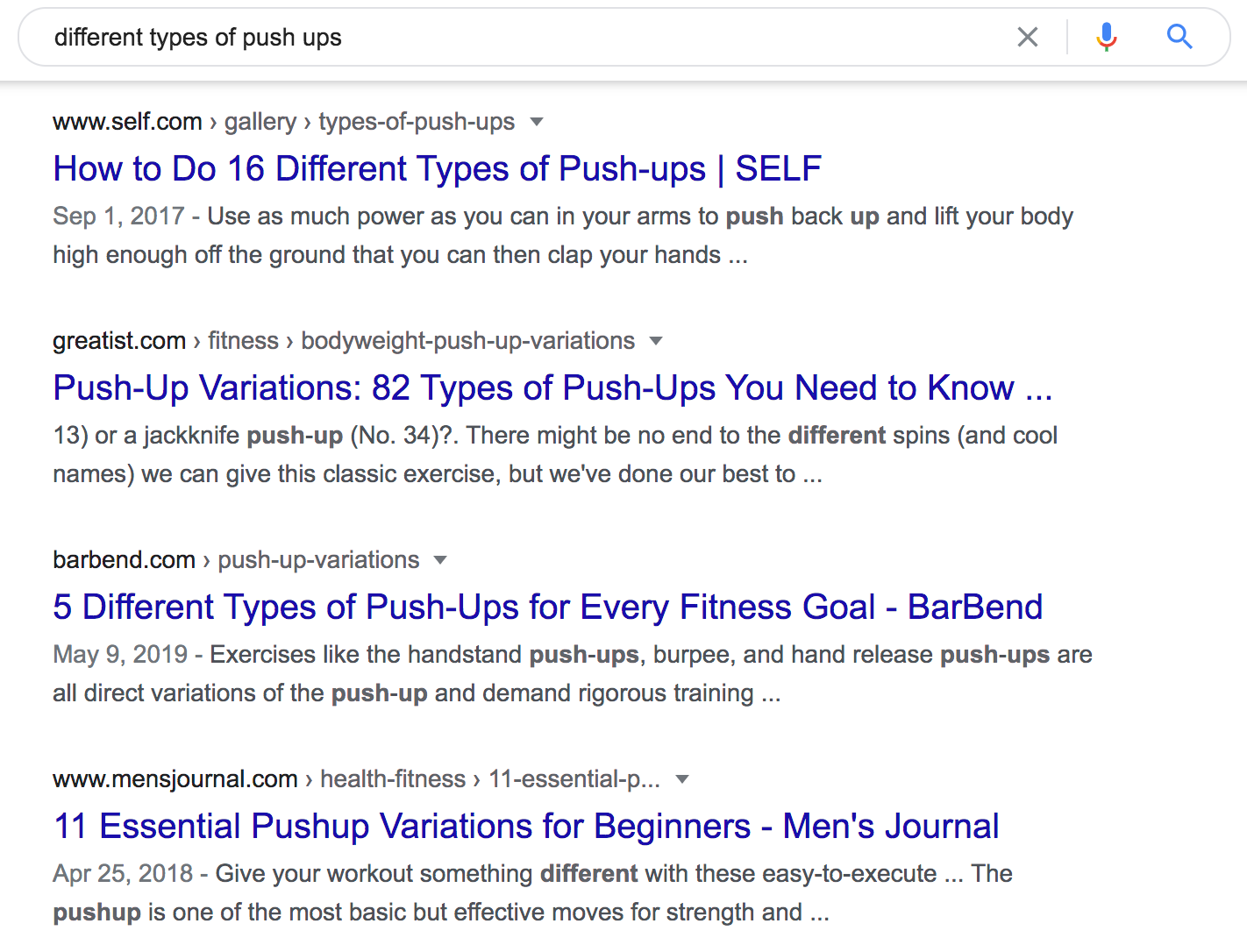 "Google search result of ""different types of push up"""