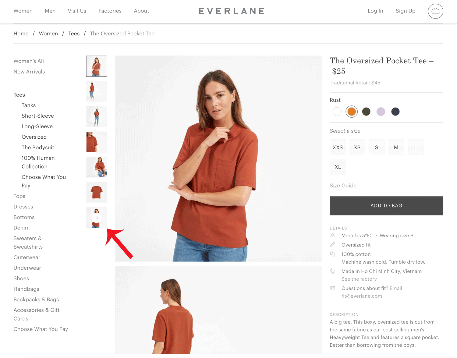 Screenshot showing a product page on Everlane