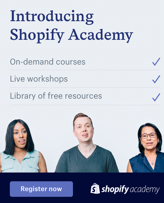 Screenshot of Shopify Academy banner using CTAs