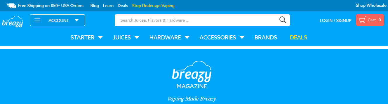 Screenshot showing a blog on Breazy