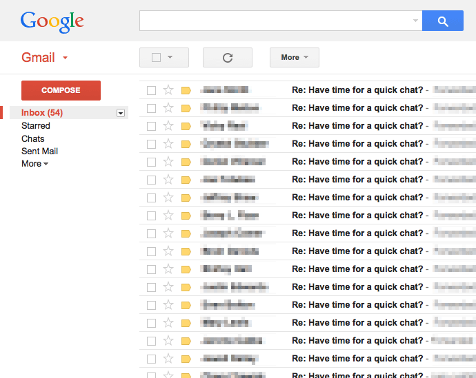 Screenshot showing a gmail inbox