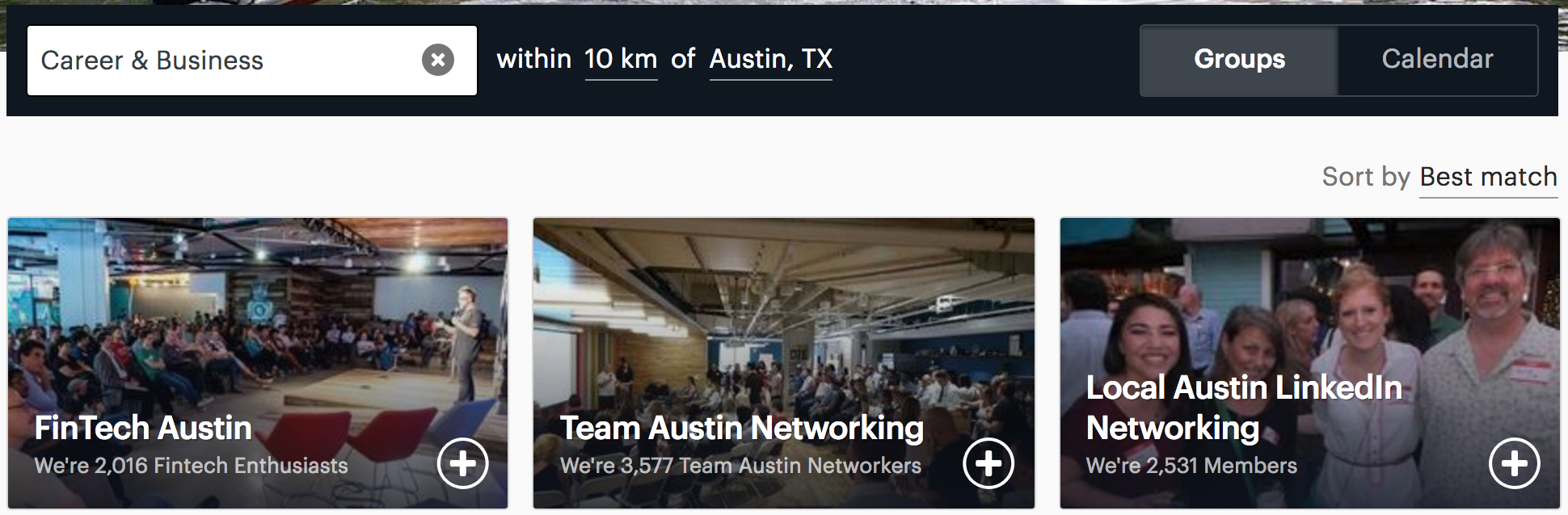 Screenshot showing a MeetUps search for Career & Business in Austin