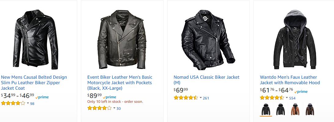 Screenshot showing leather jackets on amazon