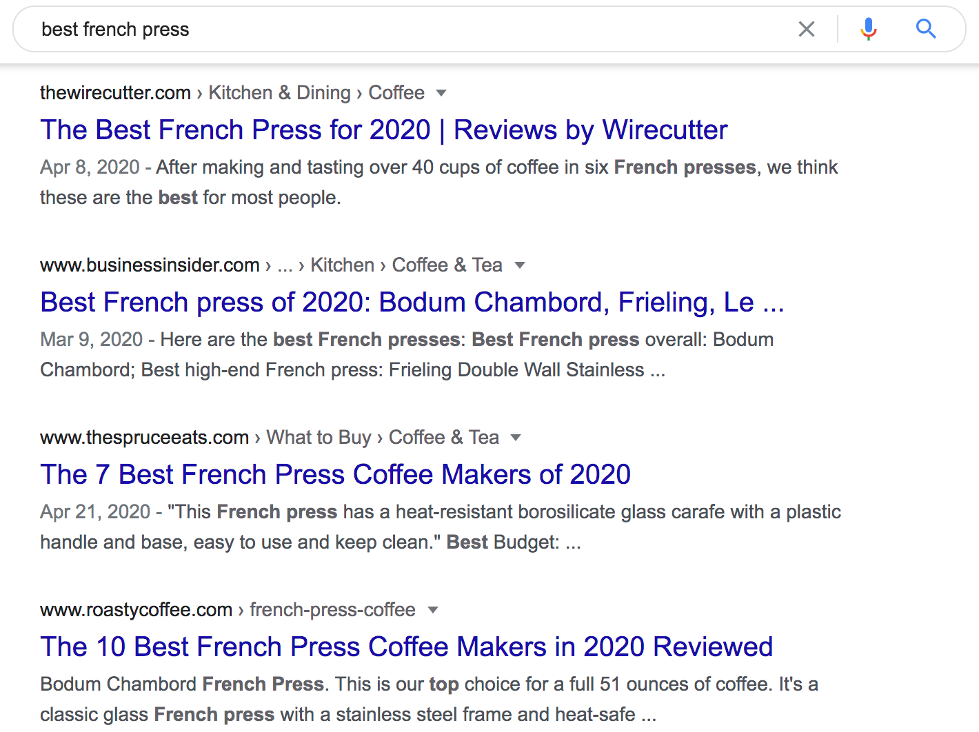 """best french press"" top-ranking pages"