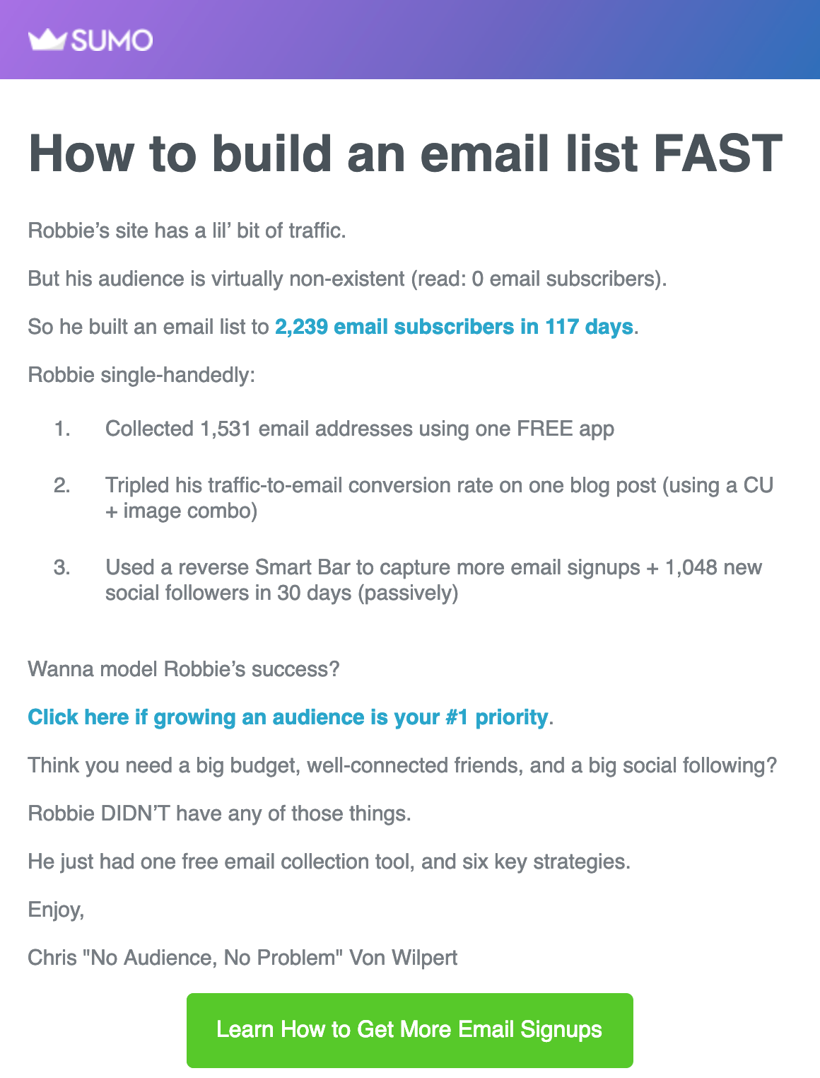 Screenshot of blog update email from Sumo