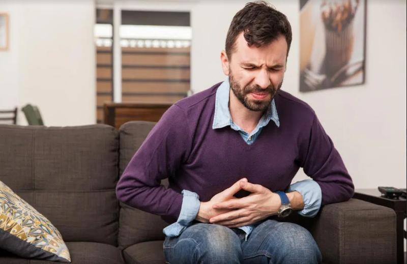 Mr. Purple Shirt - stomach pains