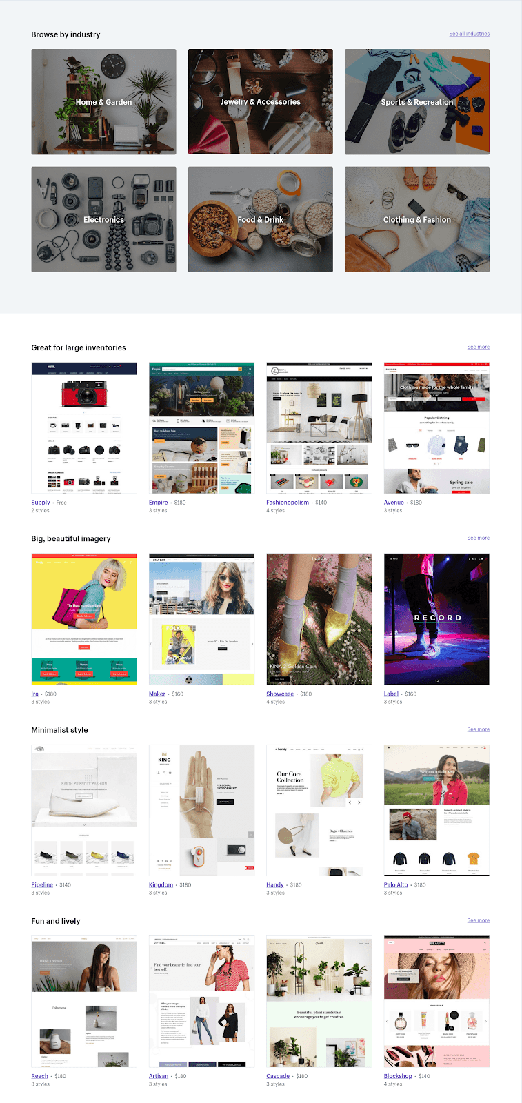 Screenshot showing Shopify themes