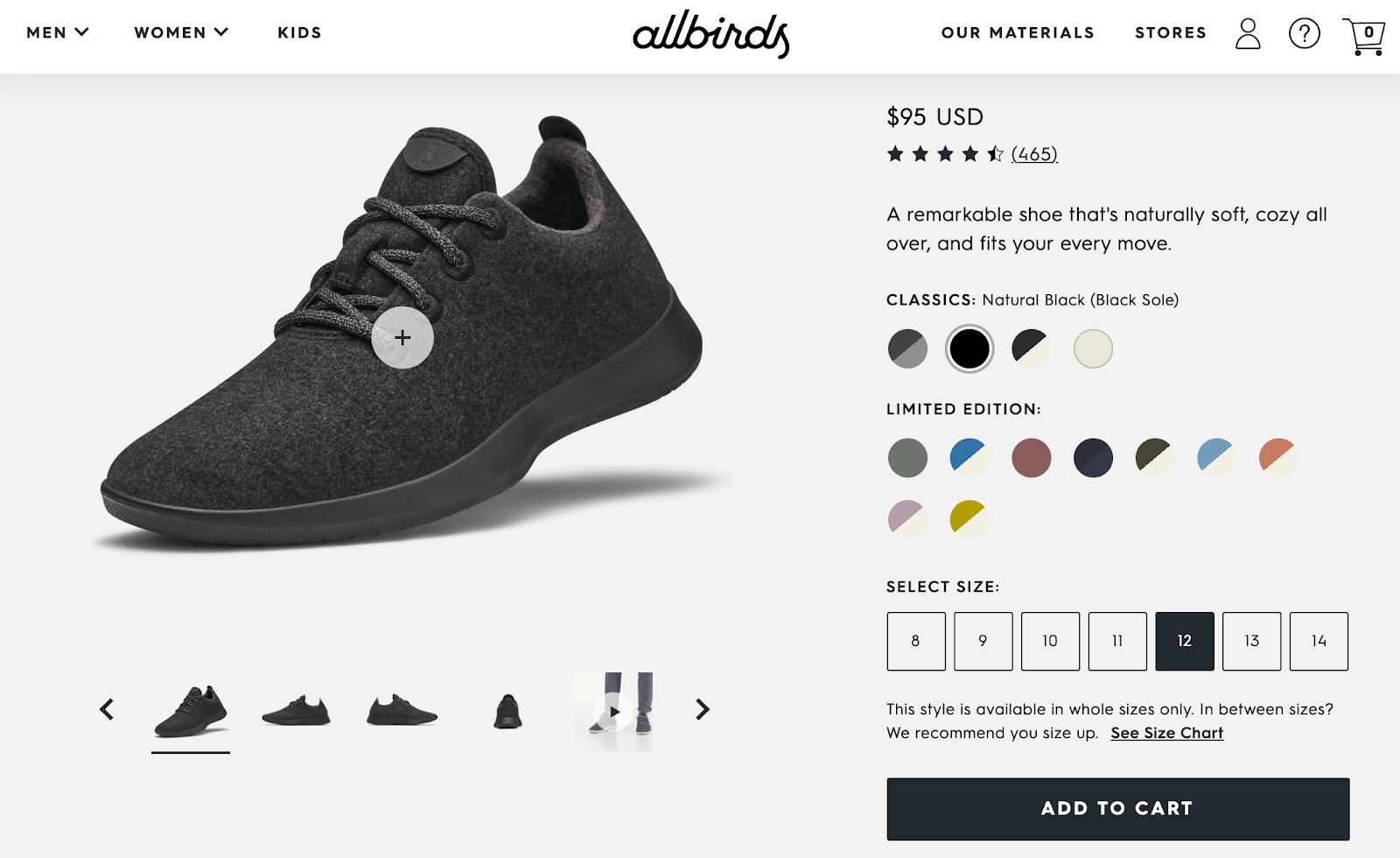 Screenshot of Allbirds product page focused on adding something to a basket