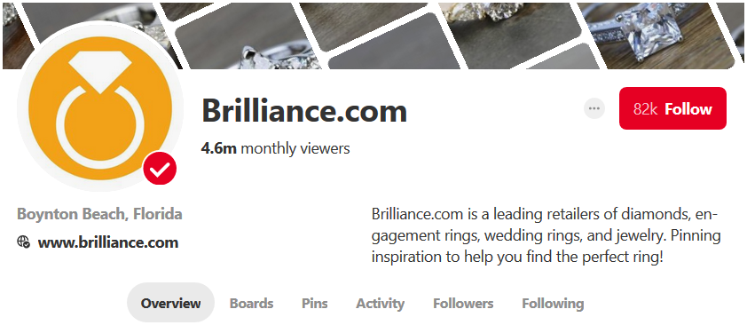 Screenshot showing Brilliance.com Pinterest page