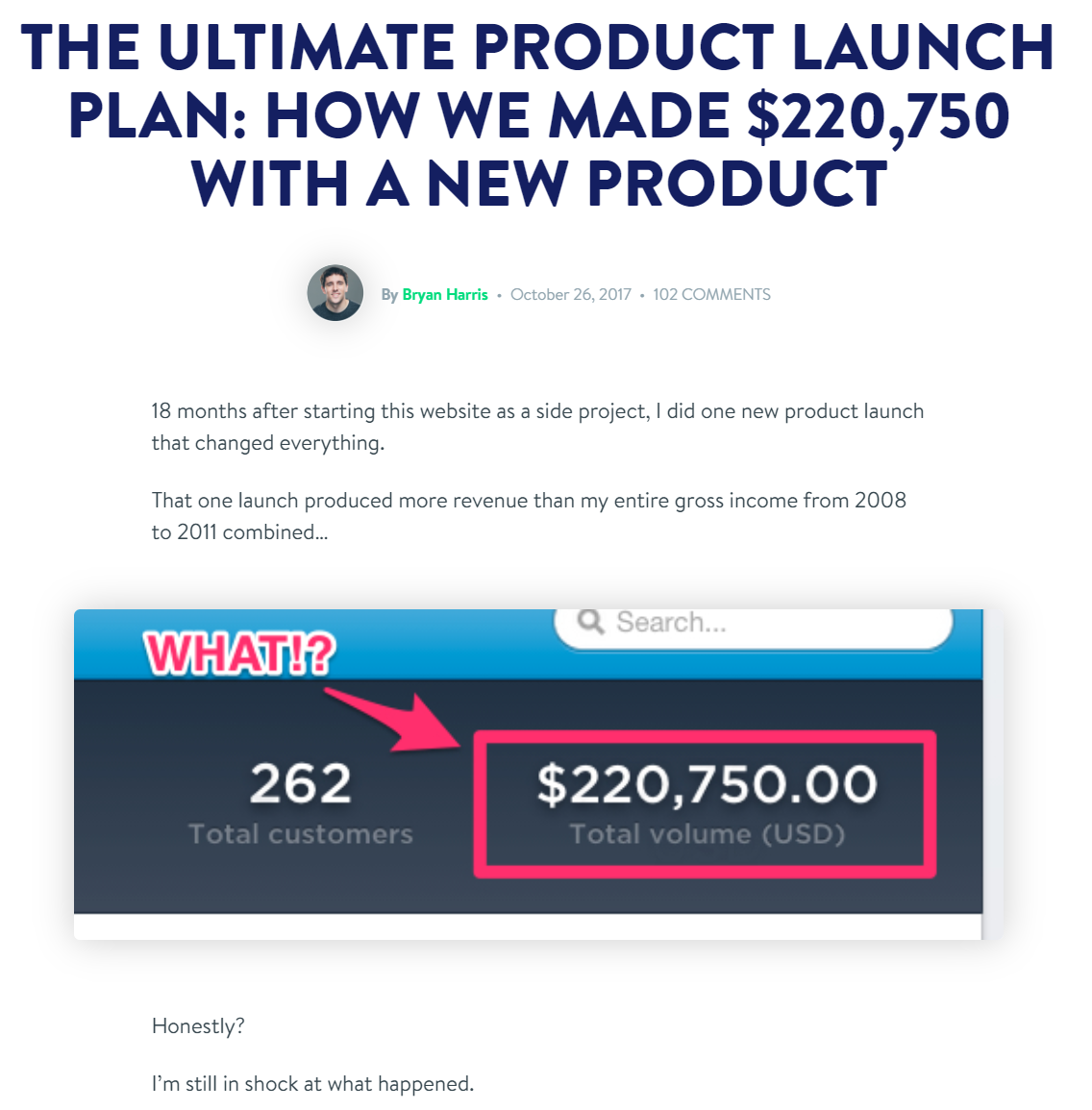Screenshot of blog post (THE ULTIMATE PRODUCT LAUNCH PLAN: HOW WE MADE $220,750 WITH A NEW PRODUCT) from Growth Tools